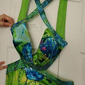 Neon floral formal dress